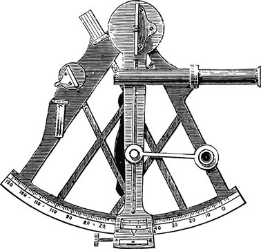 Sextant Illustration Vintage Woodcut from 1871 - English Mechanic and World of Science - Antique Image