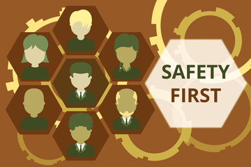 Conceptual hand writing showing Safety First. Concept meaning said to mean that it is best to avoid any unnecessary risks Picture frames CEO and staff Organization employee structure