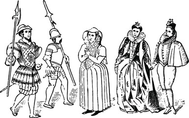 Tudor Costumes, typical dress of the age. History of England 1883 - antique vintage woodcut artwork illustration