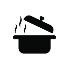 Steaming saucepan vector icon. open lid illustration symbol. Cooking sign or logo.