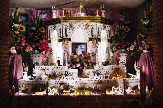Mexican Offering for Dia de los Muertos in Huaquechula Puebla Mexico