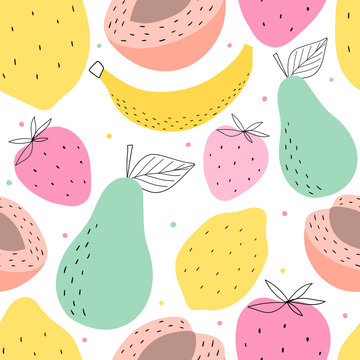 Hand drawn fruits seamless pattern for print, textile, wallpaper. Kids decorative fruits background.