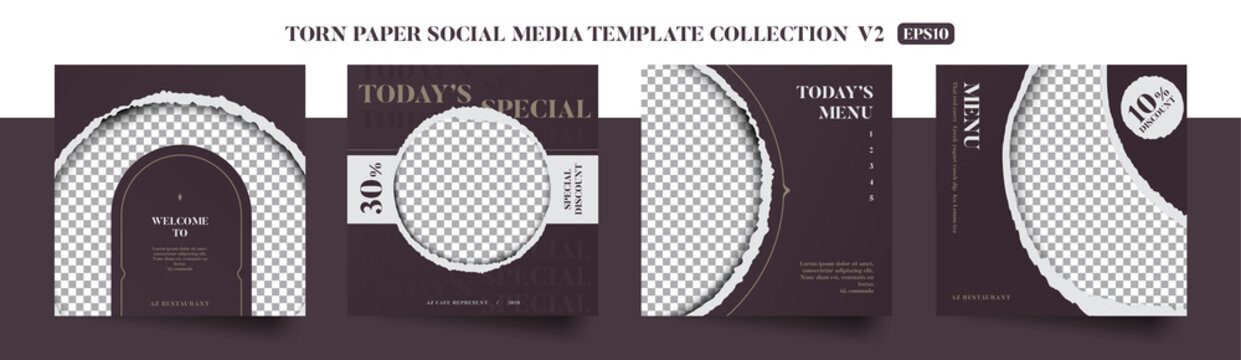Set of elegant vintage luxury restaurant culinary social media post template, promo, discount, sale, realistic torn paper style