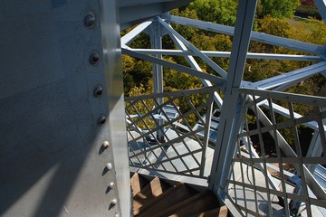 The Petrin Lookout Tower is a 63.5 metre tall steel-framework tower on Petrin Hill in Prague built in 1891.