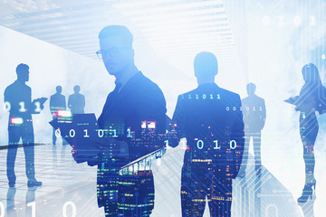 Business team in city, network interface