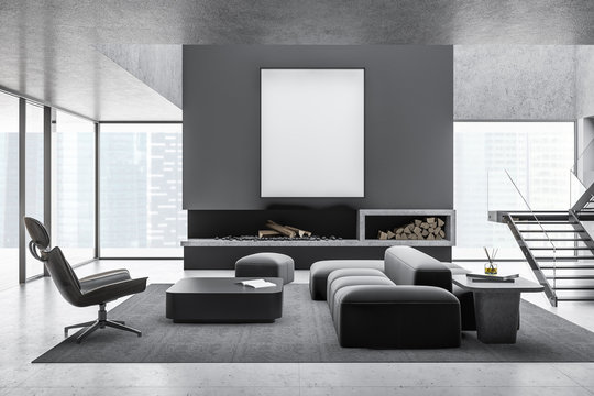 Gray living room interior, fireplace and poster