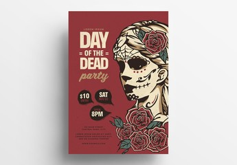 Day of the Dead Illustrative Flyer Layout with Calaca