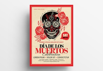 Dia De Los Muertos Illustrative Flyer Layout