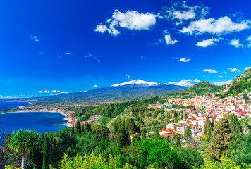 Taormina, Sicily, Italy: Panoramic view from the top of the Greek Theater, Giardini-Naxos with the Etna and Taormina