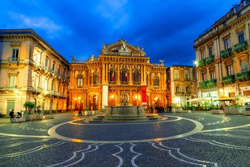 Catania, Sicily island, Italy: The facade of the theater Massimo Bellini