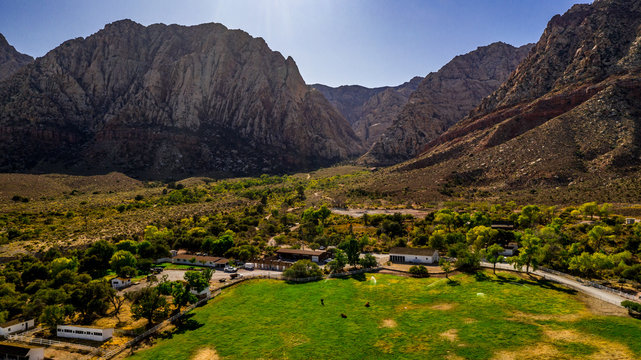 Beautiful view of famous Spring Mountain Ranch State Park near Las Vegas and Red Rock Canyon, Nevada during autumn with pink and red rock mountains, blue sky, green trees and grass, and purple hills