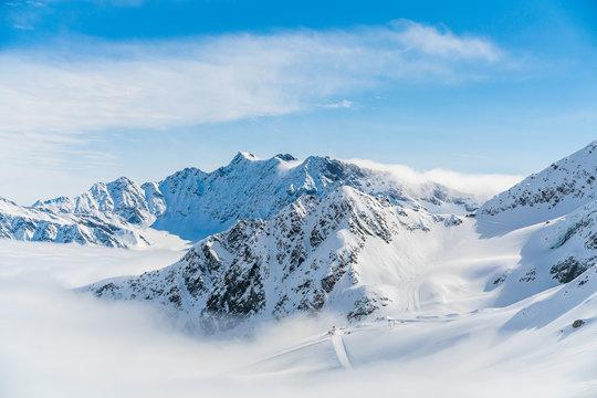 Panorama of ski runs on the Kaunertal glacier in Austria.