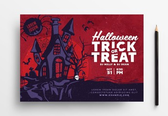 Red Halloween Flyer Layout with Haunted House Illustration