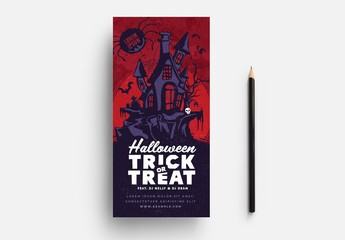 Red Halloween Card Layout with Haunted House Illustration
