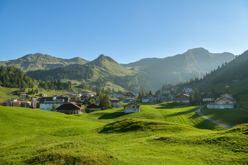 Wall Mural - Beautiful view on mountain village Stoos in canton of Schwyz, Switzerland