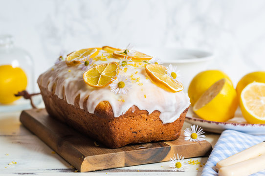 lemon drizzle cake, decorated with sugar icing