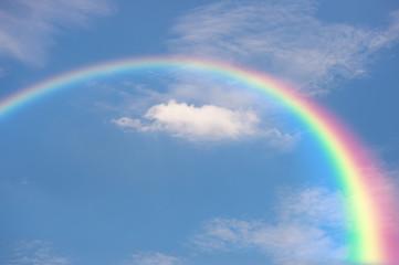 Foto auf Acrylglas Blau Jeans Blue sky and clouds with rainbow