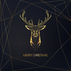 Merry Christmas greeting card with golden low polygonal deer head with antlers and text on black.
