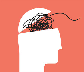 Fototapeta ADHD Attention disorder vector illustration of humans head silhouette with messy lines of thinks. Mental disorder icon. Vector illustration. obraz