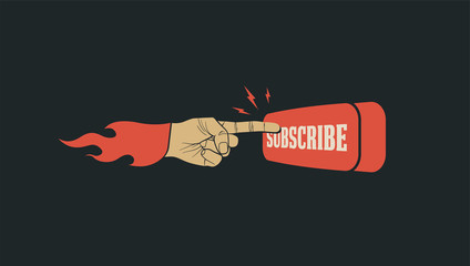 Subscribe button with pointing finger on it. Subscribe call to action banner for bloggers video or social media channel. Vector illustration.
