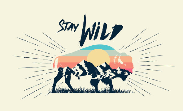 Double exposure effect buffalo bison silhouette with mountains landscape and stay wild caption. T-shirt print design. Vector illustration.