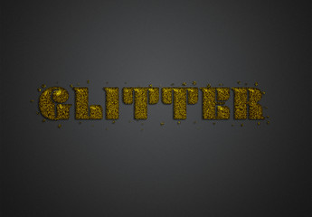 Gold Glitter Text Effect Mockup