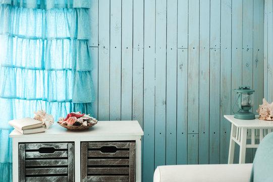 Blue interior of beach house
