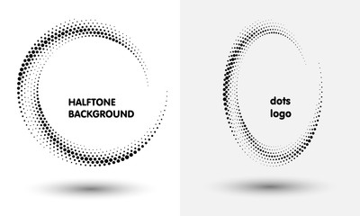 Halftone round as icon or background. Black abstract vector circle frame with dots as logo or emblem.