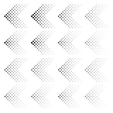 Set of arrows with halftone effect. Vector illustration EPS10. Black arrows collection isolated on white