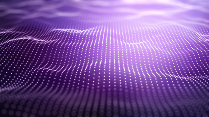 Wall Murals Purple 3D techno background with flowing dots