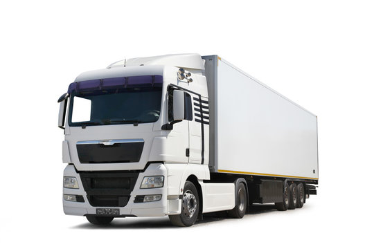 White lorry on motorway In UK commercial