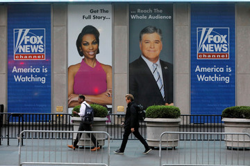 Signage is seen at the Fox News offices after it was announced that news anchor Shepard Smith had quit the network in New York City