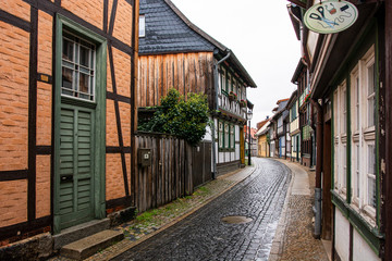 Medieval street in the old town of Wernigerode (Harz/Germany) on a rainy da