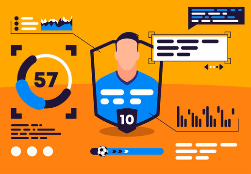 vector illustration of professional football player statistics with graphs and charts