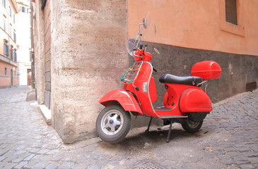 Scooter Red scooter alleyway cityscape Rome Italy