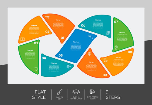 flat process circle infographic vector design with 9 steps for business. Step infographic can be used for presentation, brochure and marketing.