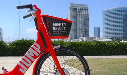 Close up of dockless Jump Bike by Uber parked in downtown San Diego. Photo taken in San Diego, CA / USA on May 31, 2019.