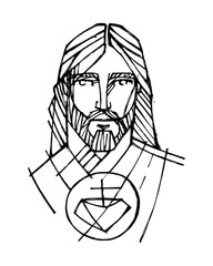 Jesus Christ Sacred Face hand drawn illustration