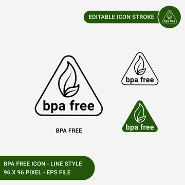 Bpa free icons set vector illustration with icon line style. Bpa non toxic plastic triangle concept. Editable stroke icon on isolated white background for web design, user interface,  and mobile app