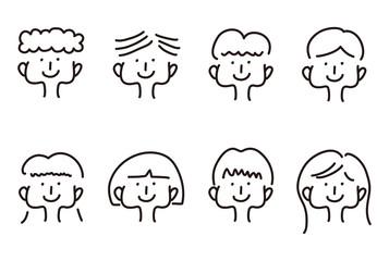 手描きの人物イラスト セット