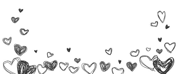 Line drawing hearts shape on white background. Vector illustration.