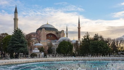 Wall Mural - Hagia Sophia with Istanbul skyline time lapse in Istanbul city, Turkey.
