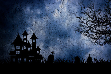 Halloween night scene with haunted house and death tree background.
