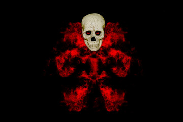 skull with red smoke on black background,Halloween day