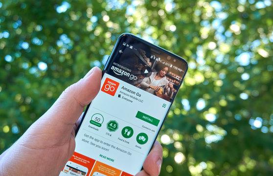 Amazon Go mobile app on Samsung s8.
