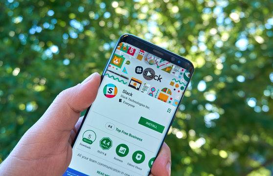 Slack mobile app on Samsung s8.