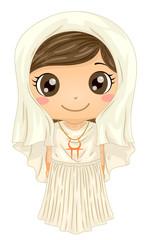 Kid Girl Greek Goddess Hestia Costume Illustration