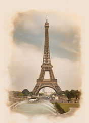 image of the Eiffel Tower and Fountain of Warsaw from Trocadero gardens, Paris, France processed in a graphic editor as an retro photo or old postcard