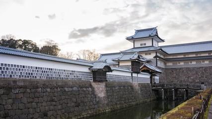 Wall Mural - Kanazawa Castle skyline timelapse in Kanazawa, Ishikawa Prefecture, Japan