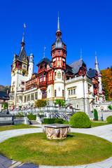 Peles Castle, Sinaia, Prahova County, Romania: Famous Neo-Renaissance castle in autumn colours